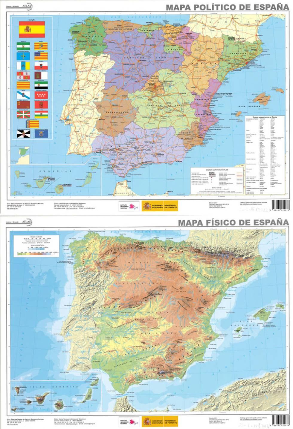 Mapa De España Físico.Mapas De Espana Para Descargar E Imprimir Completamente