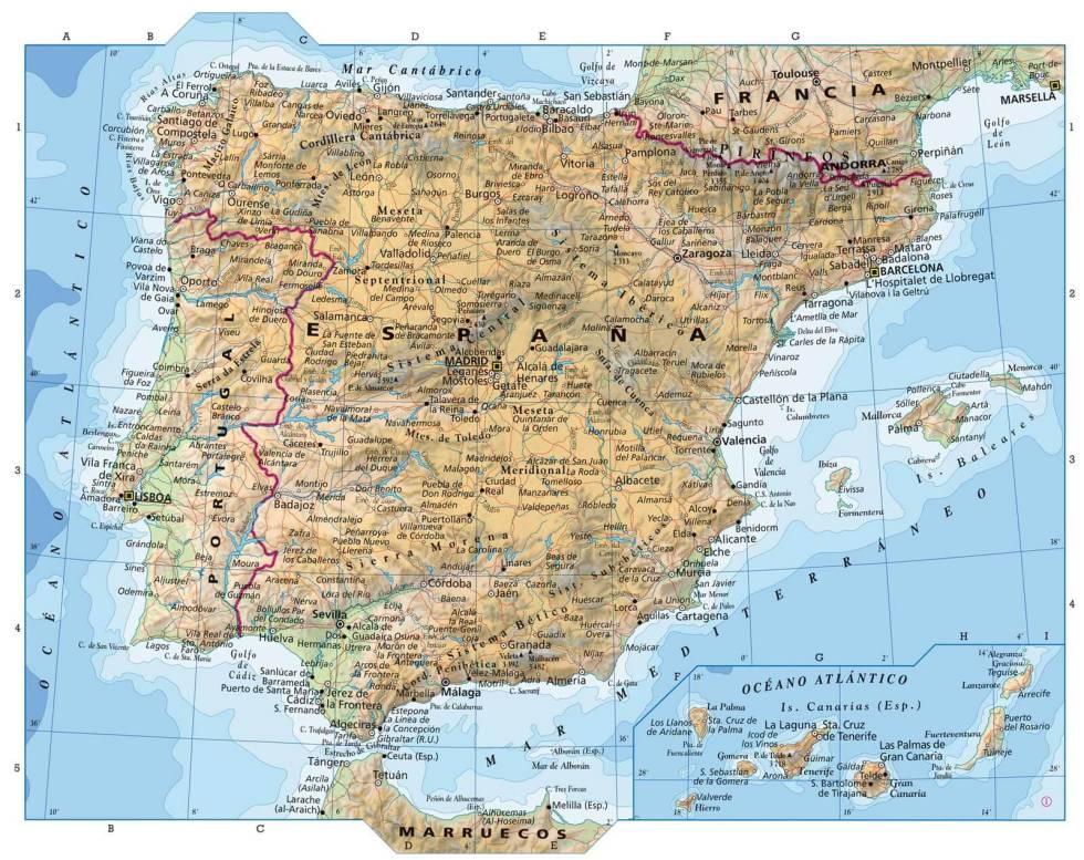 Mapa Fisico De España.Mapas De Espana Para Descargar E Imprimir Completamente