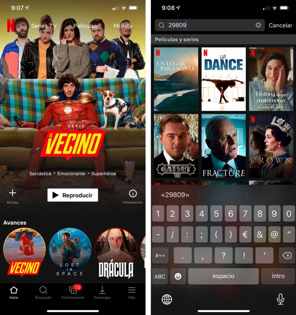 Netflix, buscar contenidos con códigos.